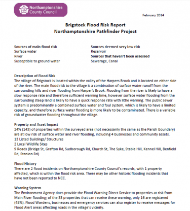 Community Flood Risk Report For Name Of Your Two Example Reports Brigstock And Geddington Can Be Downloaded To The Right