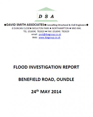 Flood Investigation – Oundle, Benefield Road, May 2014