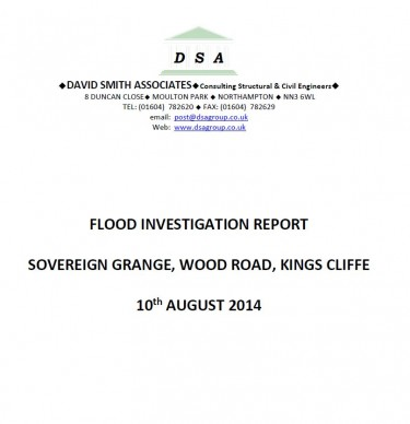 Flood Investigation – Kings Cliffe, August 2014