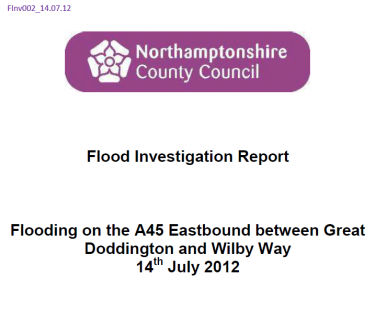 Flood Investigation – A45, July 2012
