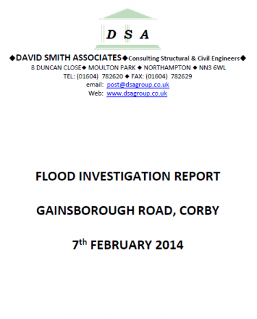 Flood Investigation – Corby, Gainsborough Road, February 2014