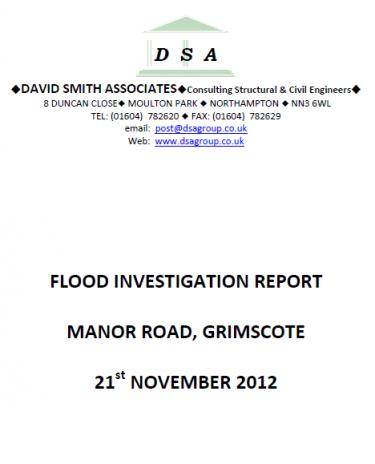 Flood Investigation – Grimscote, November 2012