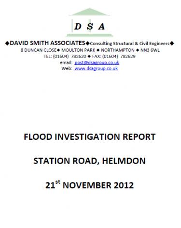 Flood Investigation – Helmdon, November 2012