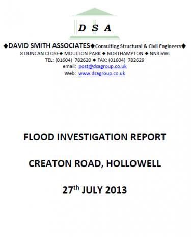 Flood Investigation – Hollowell, July 2013