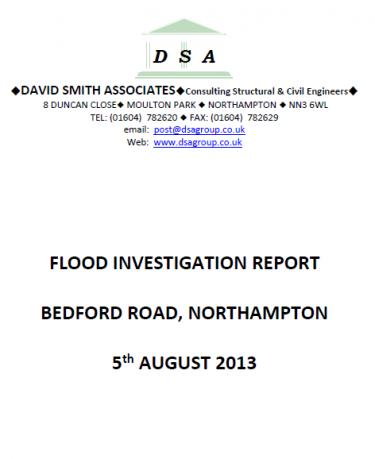 Flood Investigation – Northampton, Bedford Road, August 2013