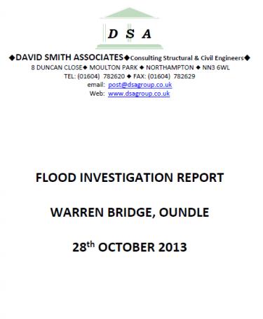 Flood Investigation – Oundle, Warren Bridge, October 2013