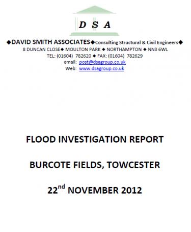 Flood Investigation – Towcester, Burcote Fields, November 2012