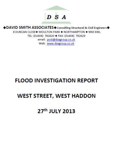 Flood Investigation – West Haddon, July 2013