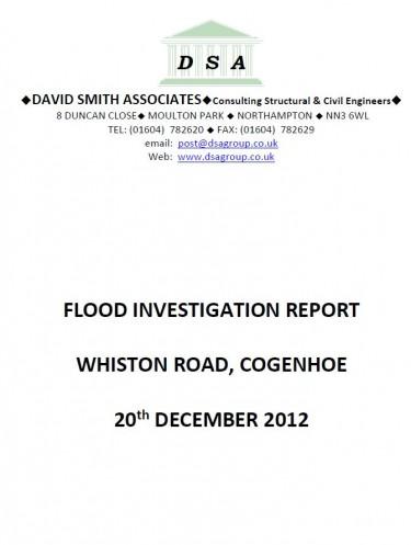Flood Investigation – Cogenhoe, December 2012