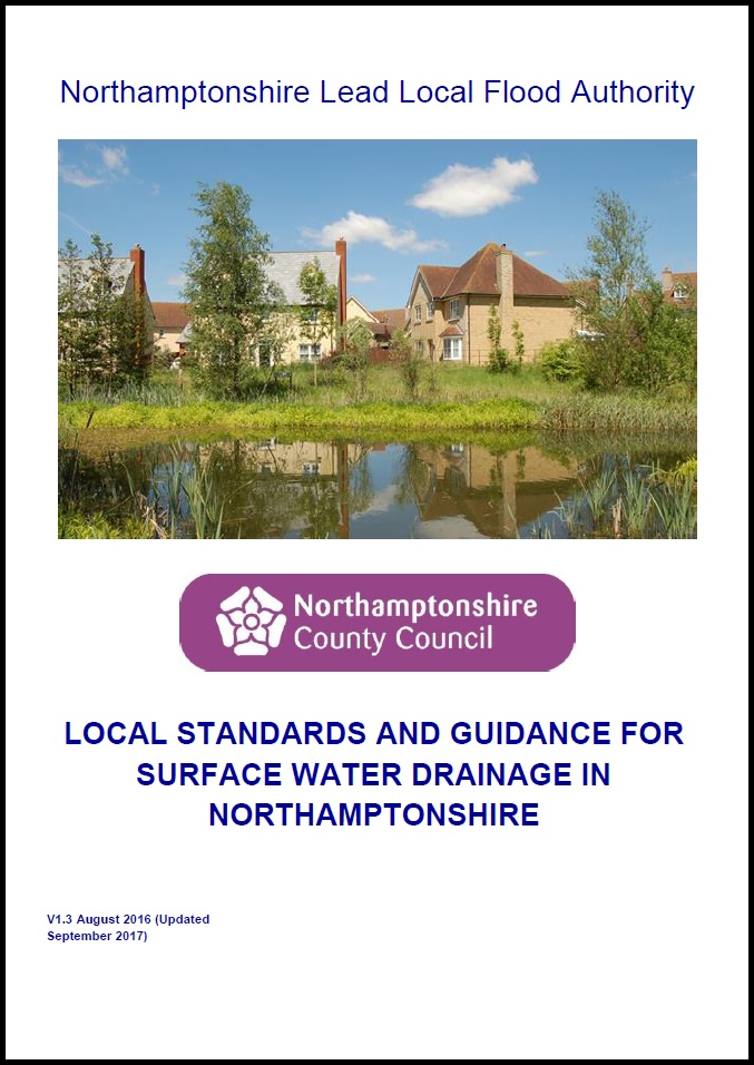 Download version 1.3 of the Local Standards and Guidance for Surface Water Drainage in Northamptonshire