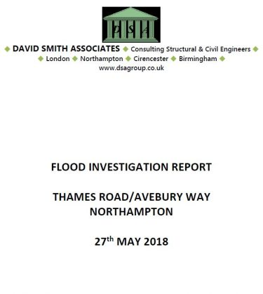 Flood Investigation – Thames Road and Avebury Way, Northampton, May 2018