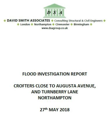 Flood Investigation – Crofters Close to Augusta Avenue, and Turnberry Lane, Northampton, May 2018