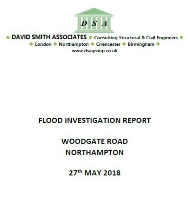 Flood Investigation – Woodgate Road, Northampton, May 2018