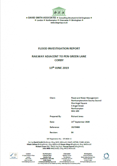 Flood Investigation – Pen Green Lane, Corby, June 2019