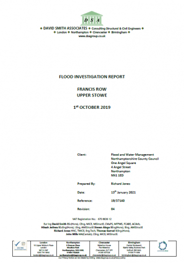 Flood Investigation – Francis Row, Upper Stowe, October 2019