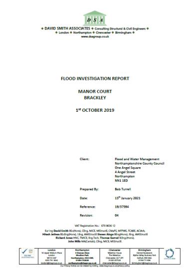 Flood Investigation – Manor Court, Brackley, October 2019